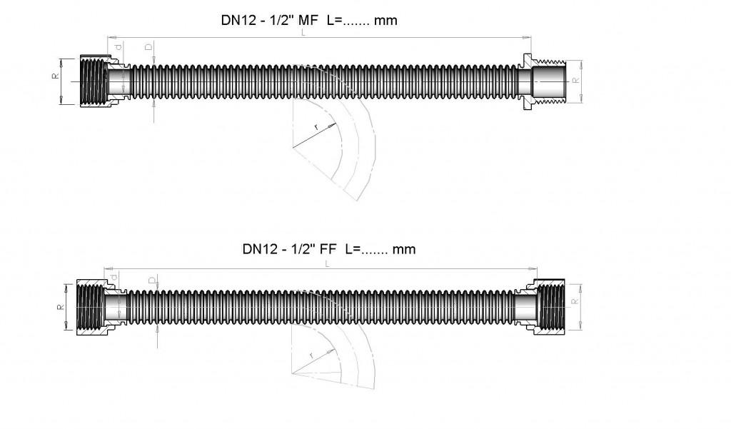 Чертеж на тръба DN 12 mm