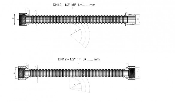 Drawing of the hose DN 12 mm